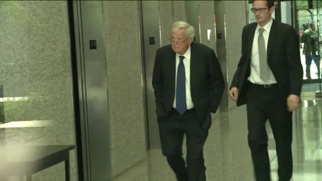 wgn dennis hastert enters the dirksen us courthouse and walks to the elevators for his hearing on june 9 2015 hastert entered a plea of not guilty to... - yorkville illinois stock videos & royalty-free footage