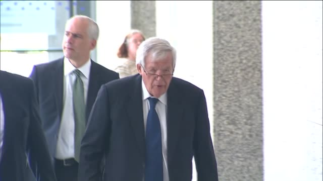 wgn dennis hastert exits the dirksen us courthouse after his hearing on june 9 2015 hastert entered a plea of not guilty to charges related to... - yorkville illinois stock videos & royalty-free footage