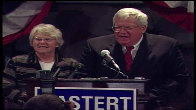 wgn dennis hastert next to his wife jean at a reelection victory party in the baker hotel in st charles illinois - yorkville illinois stock videos & royalty-free footage