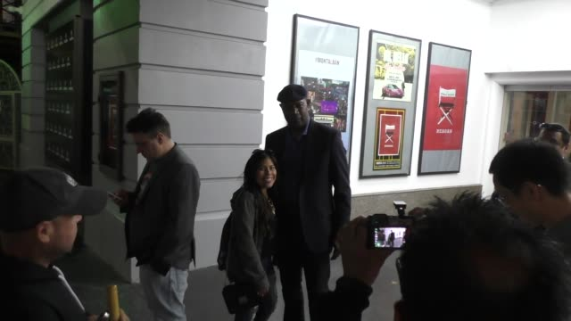 Dennis Haysbert with fans the Ricardo Montalban Theatre in Hollywood at Celebrity Sightings in Los Angeles on March 05 2016 in Los Angeles California