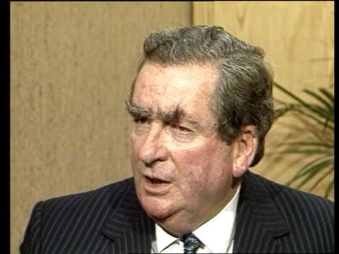 dennis healey on 1983; england: london: int dennis healey intvw sof - ピーター・シソンズ点の映像素材/bロール