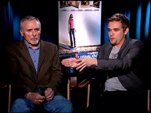 dennis hopper and nick stahl on charlize theron as a producer on the film at the 'sleepwalking' press junket at null in los angeles, california on... - stahl stock videos & royalty-free footage