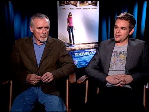dennis hopper and nick stahl on wanting to be a part of the film and on the experience of making the film at the 'sleepwalking' press junket at null... - stahl stock videos & royalty-free footage