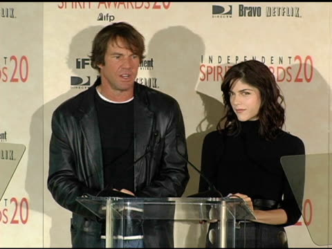 Dennis Quaid and Selma Blair announce the nominations for Best Documentary at the 2005 Independent Spirit Awards Nominations at Le Meridien in Los...
