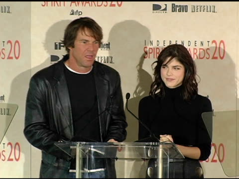 Dennis Quaid and Selma Blair announce the nominations for Best Director at the 2005 Independent Spirit Awards Nominations at Le Meridien in Los...