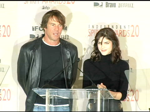 Dennis Quaid and Selma Blair announce the nominations for Best Supporting Female at the 2005 Independent Spirit Awards Nominations at Le Meridien in...