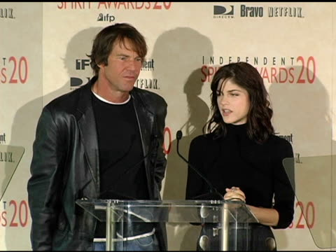 Dennis Quaid and Selma Blair announce the nominations for Best Screenplay at the 2005 Independent Spirit Awards Nominations at Le Meridien in Los...