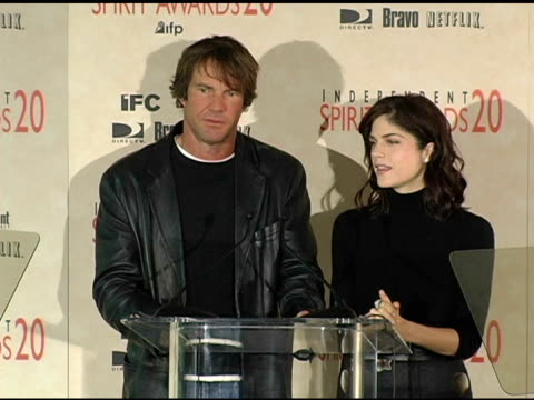 Dennis Quaid and Selma Blair announce the nominations for Best First Screenplay at the 2005 Independent Spirit Awards Nominations at Le Meridien in...
