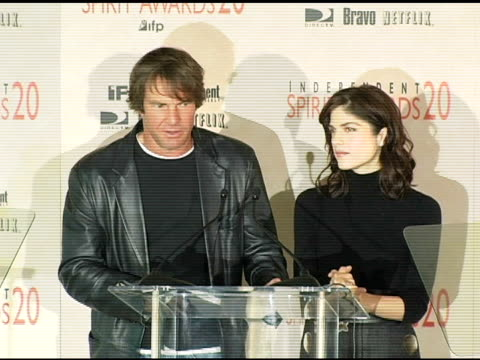 Dennis Quaid and Selma Blair announce the nominations for Best Male Lead at the 2005 Independent Spirit Awards Nominations at Le Meridien in Los...