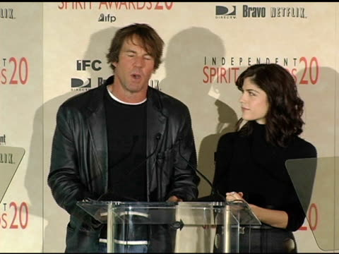 Dennis Quaid and Selma Blair announce the nominations for John Cassavetes Award at the 2005 Independent Spirit Awards Nominations at Le Meridien in...