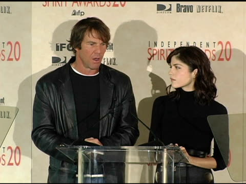 Dennis Quaid and Selma Blair announce the nominations for The Bravo Amex Producers Award at the 2005 Independent Spirit Awards Nominations at Le...