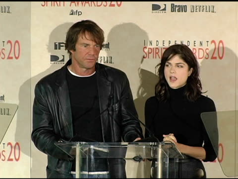 Dennis Quaid and Selma Blair announce the nominations for The Direct Tv IFC Truer than Fiction award at the 2005 Independent Spirit Awards...