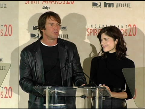 Dennis Quaid and Selma Blair announce the nominations for THe Turning Leaf One To Watch award at the 2005 Independent Spirit Awards Nominations at Le...