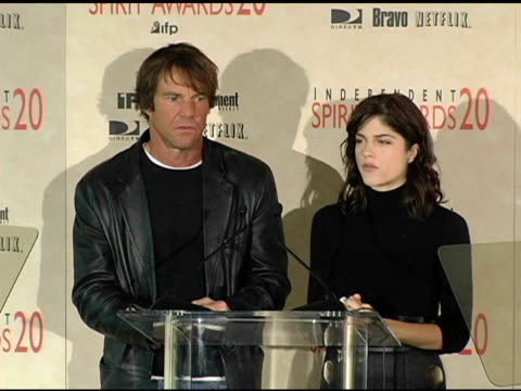 Dennis Quaid and Selma Blair announce the special distinction award for the cast of 'Mean Creek' at the 2005 Independent Spirit Awards Nominations at...