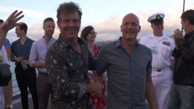 dennis quaid and woody harrelson at the midway special screening joint navy base pearl harbor hickam on october 20 2019 in honolulu hawaii - woody harrelson stock videos & royalty-free footage