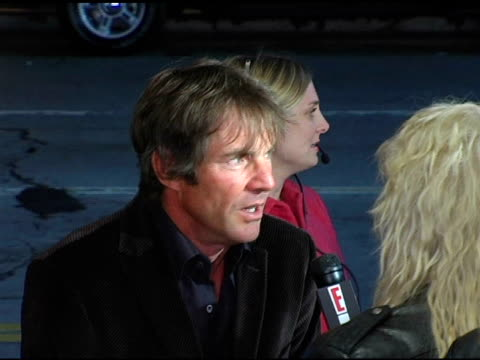 Dennis Quaid gets interviewed at the 'Flight of the Phoenix' Los Angeles Premiere at the Bruin Theatre in Westwood California on December 15 2004