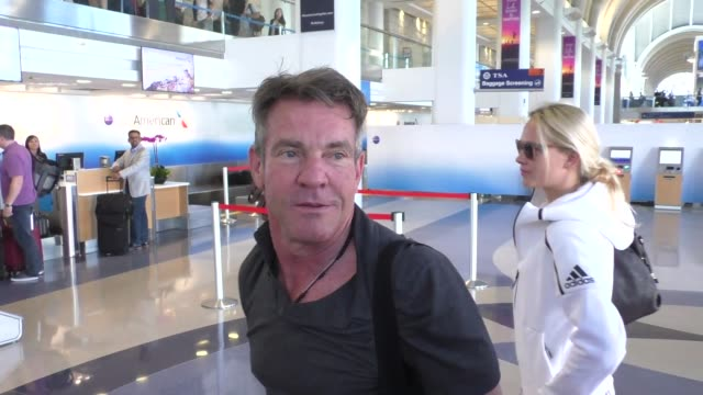 INTERVIEW Dennis Quaid talks about how everything will be better with Donald Trump as president while departing at LAX Airport in Los Angeles in...