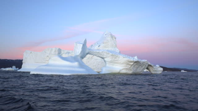dense ice in disko bay during sunset - inlet stock videos & royalty-free footage