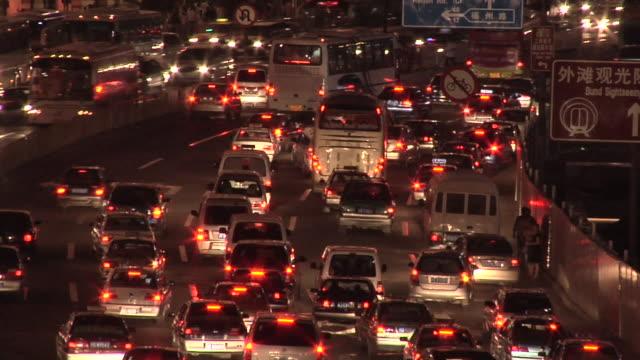 HA WS Dense nighttime traffic on Zhongshan Dong Yilu/ Shanghai, China