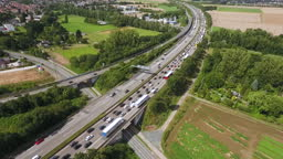 Dense traffic on highway - aerial view, drone footage