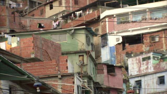 ws la tu densely clustered homes on terraced hillside in petare / caracas, miranda, venezuela - caracas stock videos & royalty-free footage