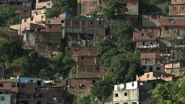 ws pan densely clustered homes on terraces in petare / caracas, miranda, venezuela - caracas stock videos & royalty-free footage