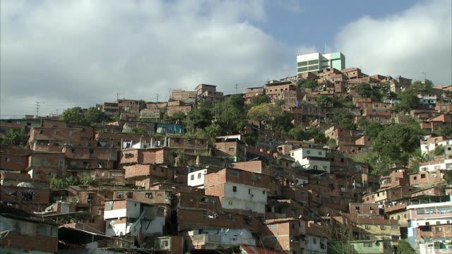 ws la densely clustered homes on terraces in petare / caracas, miranda, venezuela - venezuela stock videos & royalty-free footage