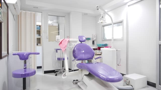 Dental clinic interior design with chair and tools medical equipment