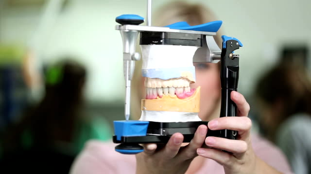 dental technician with articulator - dentures stock videos and b-roll footage