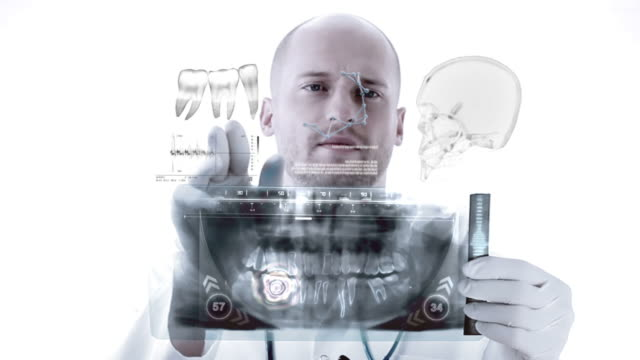 dentist examining x-ray image. animation - dental hygiene stock videos & royalty-free footage