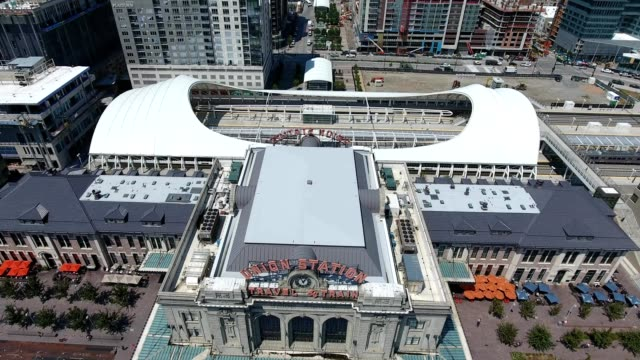denver aerial shot of union station - denver stock videos and b-roll footage