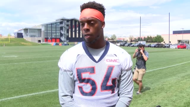 denver broncos linebacker brandon marshall said after practice thursday at the uc health training center he hasn't decided whether he will kneel for... - kneeling stock videos and b-roll footage