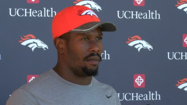 Denver Broncos linebacker Von Miller talked about the Super Bowl rematch with the Carolina Panthers and quarterback Cam Newton at press conference