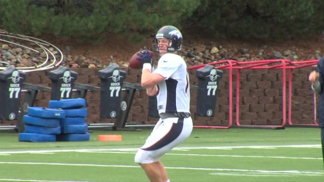 Denver Broncos practice for game against New York Giants and battle of quarterback Peyton Manning against his brother Eli Manning Broncos practice...