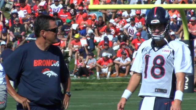 Denver Broncos quarterback coach Greg Knapp works with Peyton Manning and Brock Osweiler in training camp He was hired as the team's quarterback...