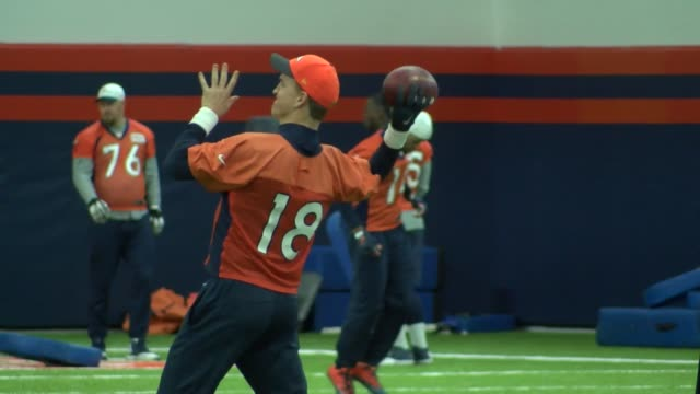 denver broncos quarterback peyton manning practicing at the team's indoor practice facility after being named the team's starting quarterback for the... - playoffs stock videos & royalty-free footage