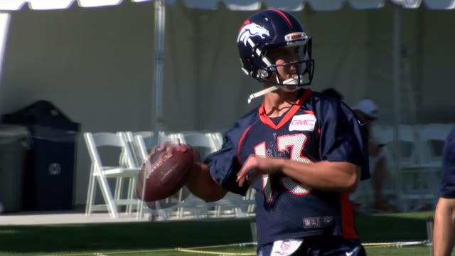 Denver Broncos quarterback Trevor Siemian practicing during training camp at the team's practice facility UC Health Training Center