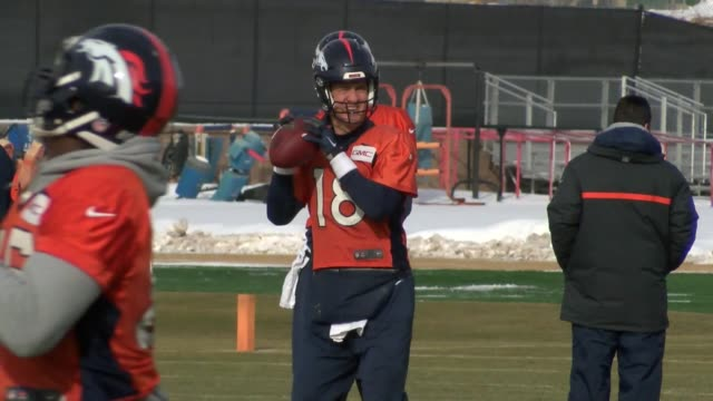 Denver Broncos returned to practice for the playoff game against the Pittsburgh Steelers including quarterbacks Peyton Manning and Brock Osweiler