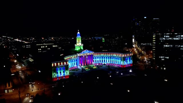 denver civic center lit up with christmas lights - denver stock videos and b-roll footage