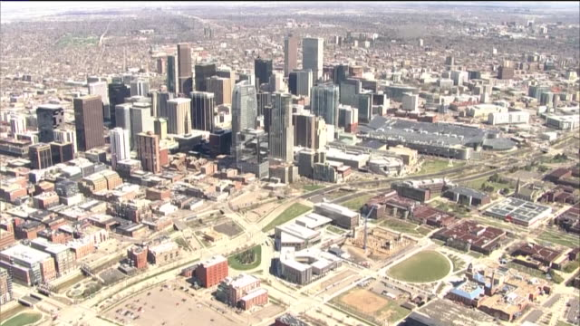 denver, co, u.s. - aerial view of denver business district on tuesday, april 14, 2020. - denver stock videos & royalty-free footage