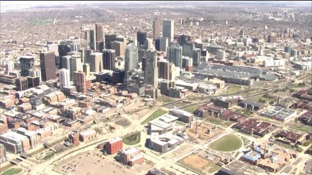 denver, co, u.s. - aerial view of denver business district on tuesday, april 14, 2020. - denver stock videos & royalty-free footage