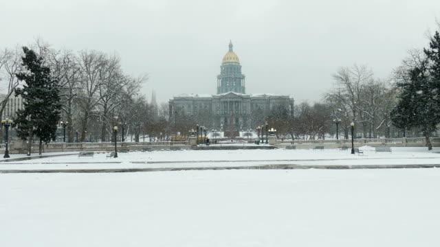 Denver Colorado State Capitol Building Civic Center Park winter snow