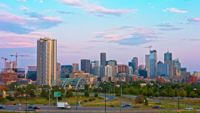 denver, colorado usa cityscape in the evening - colorado stock videos & royalty-free footage