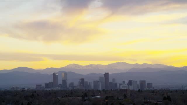 denver colorado usa sunset skyline panorama time lapse - dusk stock videos & royalty-free footage