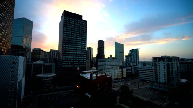 denver skyline sunset smooth pan across colorado skyline - denver stock videos and b-roll footage