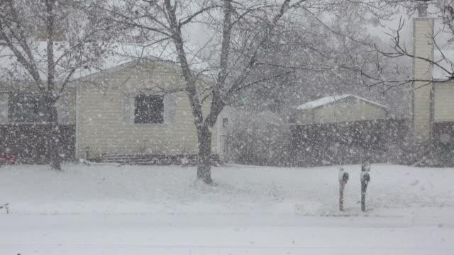 vídeos de stock, filmes e b-roll de denver neve ventoso inverno blizzard colorado casas de bairro - nevasca