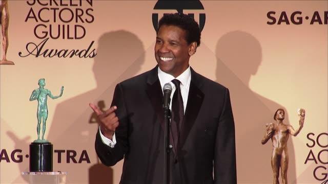 SPEECH Denzel Washington at 23rd Annual Screen Actors Guild Awards Press Room in Los Angeles CA