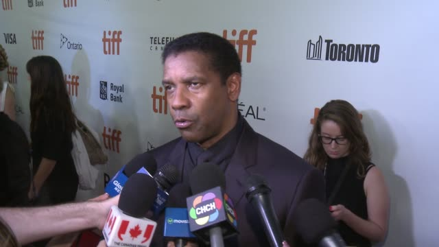 interview denzel washington on opening tiff if there was pressure to remake this film the most difficult part of making this movie the most fun part... - toronto international film festival stock videos and b-roll footage
