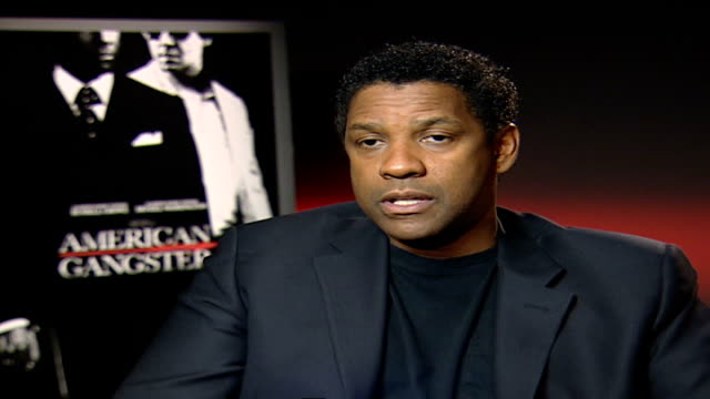 denzel washington stars in movie 'american gangster'; denzel washington interview sot - talks about working with russell crowe - russell crowe stock videos & royalty-free footage