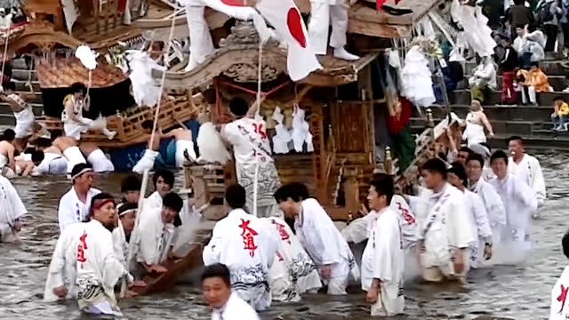 deo footage taken on may 18 in tagawa, fukuoka prefecture, shows ornately decorated floats as tall as 13 meters and weighing up to two tons each... - harvest festival stock videos & royalty-free footage